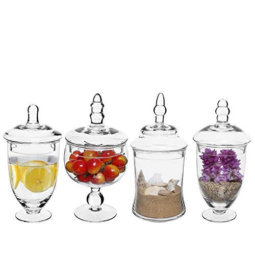 Set of 4 Clear Small Glass Apothecary Jars / Wedding Candy Buffet Jars / Centerpiece Displays with Lids