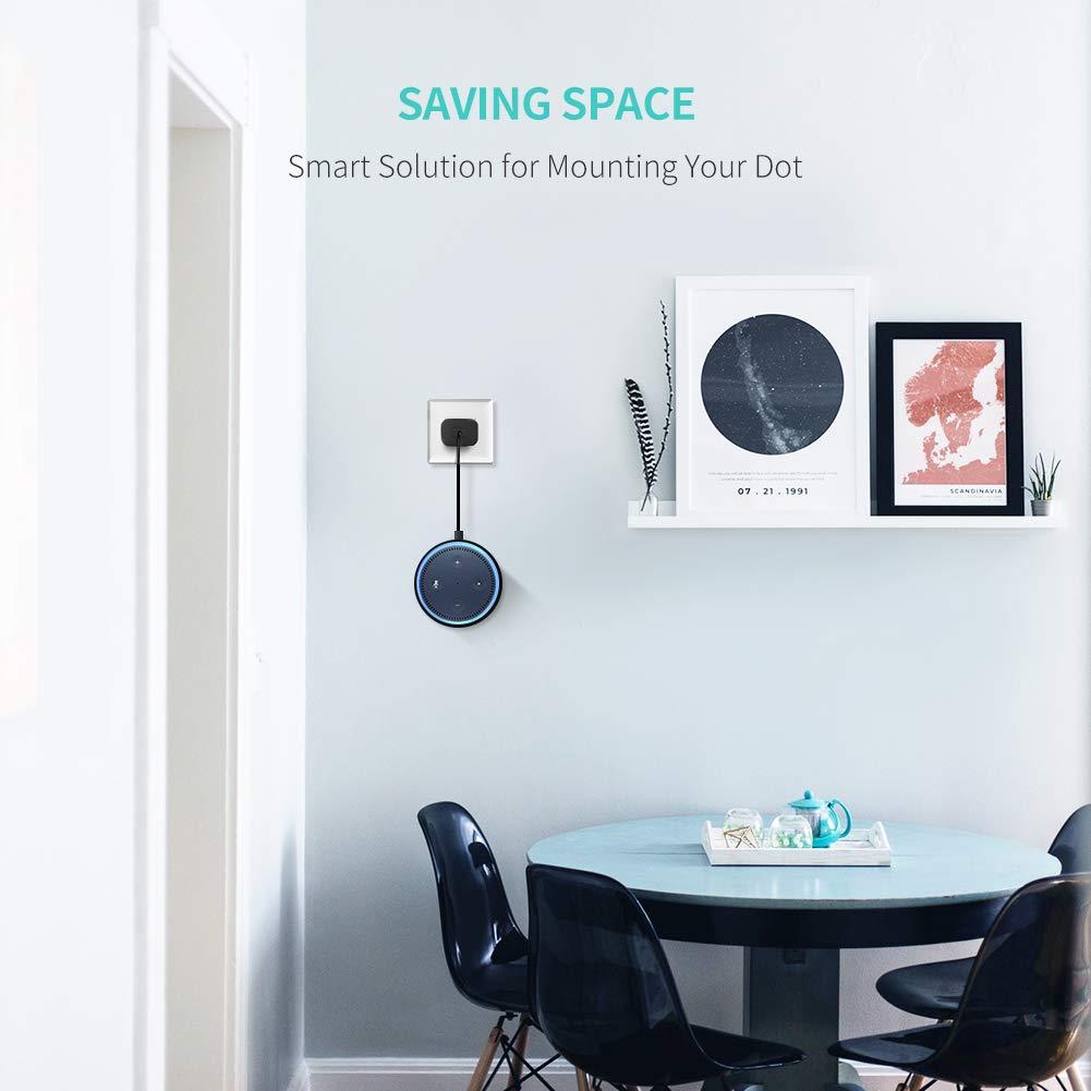 Living Room Kitchen UGREEN Wall Mount Compatible for Echo Dot 2nd Generation Speaker Holder Hanger in Bedroom Bathroom Home Space Saving Accessories Black