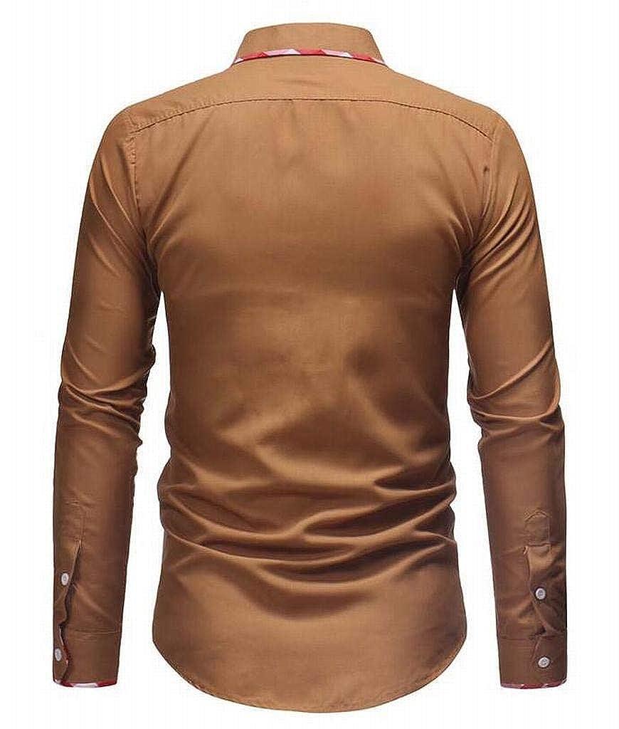 XTX Mens Lapel Long Sleeve Casual Slim Business Button Up Dress Shirt
