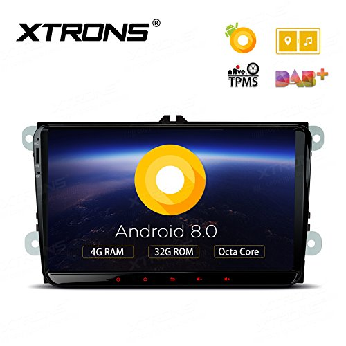 XTRONS 9 Inch Android 8.0 Octa Core 4G RAM 32G ROM HD Digital Multi-Touch Screen OBD2 DVR Car Stereo Player Tire Pressure Monitoring WiFi OBD2 NO-DVD for VW EOS Passat Golf