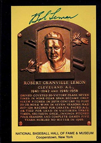 Mlb Card Plaques (Bob Lemon 1976 Hall Of Fame Plaque Signed Autograph Auto Au7731 - MLB Autographed Baseball Cards)