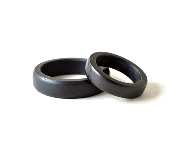 black ring set his and her rings ebony ring set wood wedding rings - Black Wedding Ring Sets