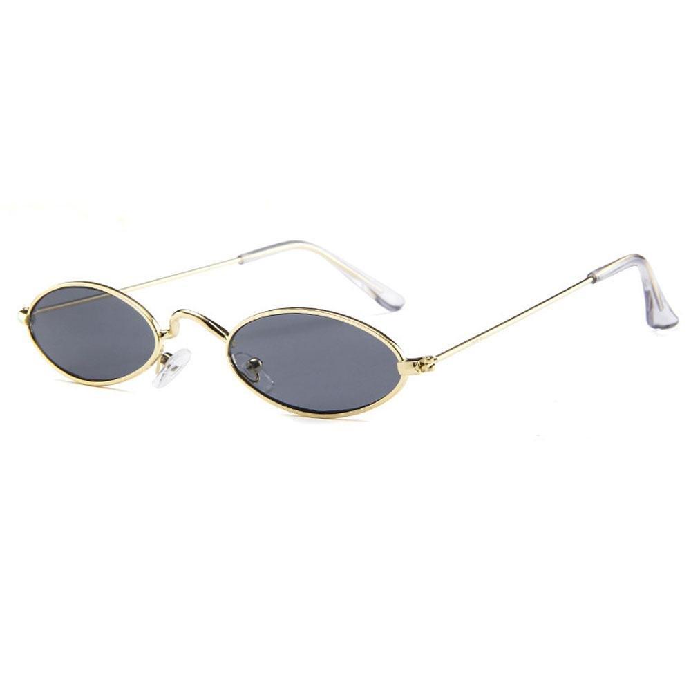 0bafa1266 AOLVO Small Oval Sunglasses, Mini Vintage Stylish Round Eyeglasses HD for  Men Women Girls Gold Frame Grey Lens: Amazon.co.uk: Kitchen & Home