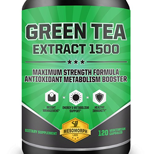 Green Tea Extract 1500 Supplement with EGCG | High Potency Antioxidant For Weight Loss | Heart Healthy Metabolism Booster With A 100% Money Back Guarantee | 60 Day Supply | 120 Vegetarian Capsules (Green Tea Extract No Caffeine compare prices)