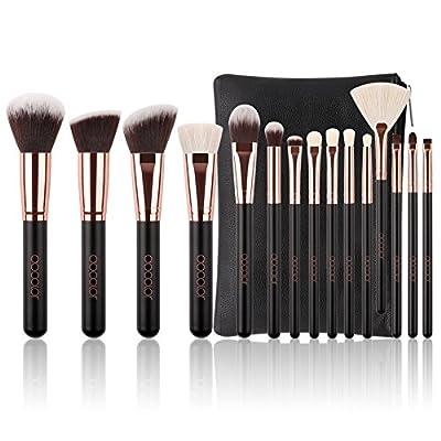 Docolor 15PCS Makeup Brush Set Premium Natural Hair Foundation Blending Brushes with Cosmetic Bag