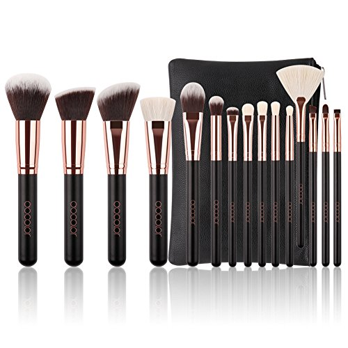 Docolor Makeup Brushes 15 Piece Makeup Brushes Set Premium Synthetic Goat Hairs Kabuki Brushes Foundation Blending Blush Face Eyeliner Shadow Brow Concealer Lip Cosmetic Brushes Kit with Cosmetic Bag ()