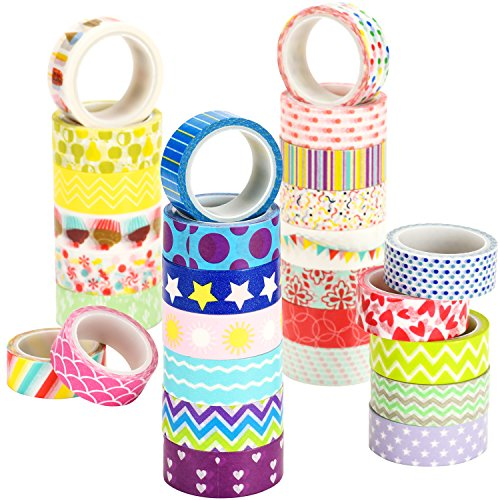 Washi Tape Set, UnityStar 28 Rolls Washi Masking Tape Decorative Craft Tape with Carrying Bag for DIY, Crafts, Gift-wrapping, Scrapbooking, Planners and Home Decorations