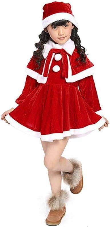 K-youth® Navidad Christmas Bebe Niña Disfraz Traje de Navidad Vestido de Manga Larga Chal Sombrero (5-6 Años, Rojo): Amazon.es: Ropa y accesorios