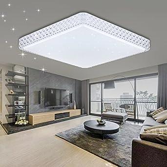 VINGO 60W LED Kristall Deckenleuchte Sternenhimmel Kaltweiß Eckig Wohnzimmer  Deckenlampe 6000K 6500K Mordern Badleuchte