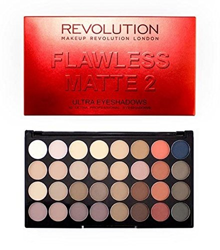 Makeup Revolution Eyeshadow Palette, 32 Colors, Flawless Mat