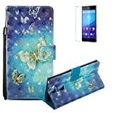 Funyye Sony Xperia XA2 Case [with Free Screen Protector],Stylish [Lanyard Strap] Magnetic Flip Soft Silicone PU Wallet Leather Case with Credit Card Holder Slots Stand Function Case for Sony Xperia XA2,Gold Butterfly