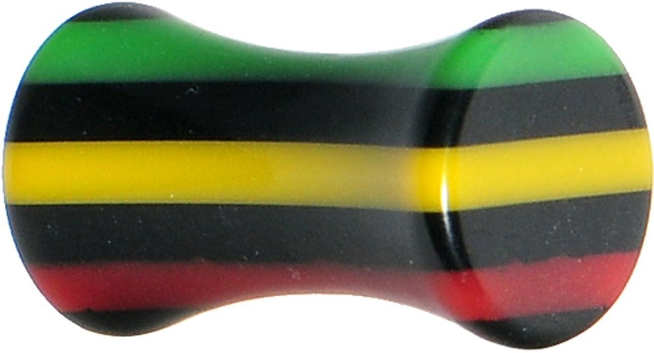 1//2 Body Candy Acrylic Rasta Stripes Straight Taper Ear Gauge Plug 1 Piece