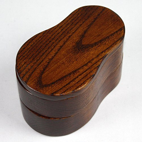 Natural wooden gourd-type cut-out two-stage lunchbox lacquered by Miyoshi lacquerware