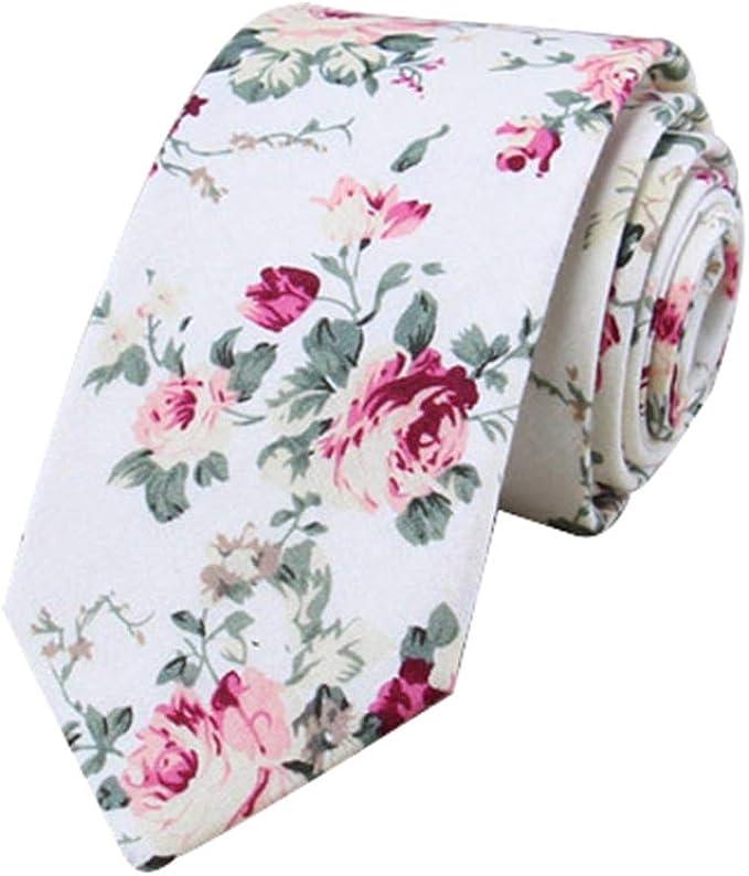 JUNGEN Corbata de algodón para Hombre Corbata Estampada de Flores ...