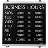 U.S. Stamp and Sign Century Business Hours Sign -Inch Business Hour-Inch Preprinted -13-Inch Width14-Inch Height Holding Size -Plastic -Black