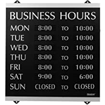 U.S. Stamp and Sign Century Business Hours Sign --Inch Business Hour-Inch Preprinted -13-Inch Width14-Inch Height Holding Size -Plastic -Black