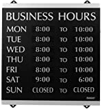U.S. Stamp & Sign HeadLine Century Series 14x13 Inch Business Hours Sign, Black and Silver, 4247
