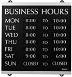 Headline Sign - Century Series, Business Hours Sign with 176 1/4''-Characters, Suction Cups for Hanging, 14x13 Inch, Black and Silver (4247)