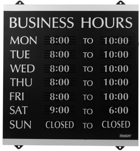"Headline Sign - Century Series, Business Hours Sign with 176 1/4""-Characters, Suction Cups for Hanging, 14x13 Inch, Black and Silver (4247)"