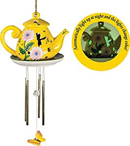 Manual Woodworkers and Weavers Ceramic Solar Light Wind Chime, 23.5-Inch Long, Teapot
