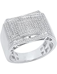0.45 Carat (ctw) 10K Gold Round White Diamond Men's Hip Hop Micro Pave Wedding Band 1/2 CT