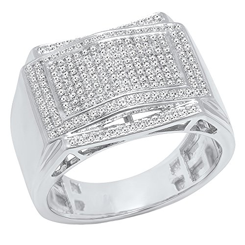 0.45 Carat (ctw) 10K White Gold Round White Diamond Men's Hip Hop Wedding Band 1/2 CT (Size 10) by DazzlingRock Collection