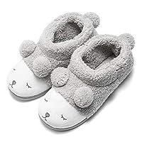 GaraTia Warm Indoor Slippers for Women Fleece Plush Bedroom Winter Boots Grey High Top 9-10.5 M US