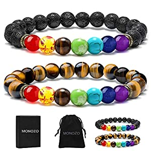 MONOZO Bead Chakra Bracelet – 7 Chakras 8mm Lava Rock Stone Anxiety Bracelet Essential Oil Diffuser Stone Yoga Beads Bracelets Meditation Relax Healing Aromatherapy Bangle for Men Wonmen Kids