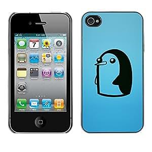 Cubierta de la caja de protección la piel dura para el Apple iPhone 4 / 4S - Cute Funny Minimalist Penguin