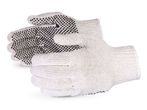 Pvc Dotted Cotton Glove (Superior SQD Sure-Grip Cotton/Polyester Economy String Knit Glove with PVC Dotted Palms, Work, 7 Gauge Thickness, Large, Natural (Pack of 1 Dozen))