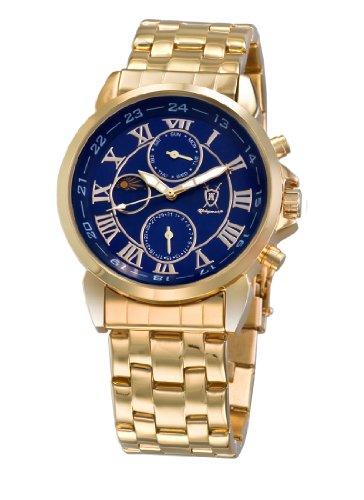Konigswerk Mens Gold Tone Bracelet Watch Blue Roman Numeral Dial Day Date Sun Moon Display AQ101091G-1