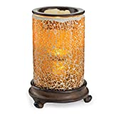CANDLE WARMERS ETC. Mosaic Glass Illumination Fragrance Warmer- Light-Up Warmer for Warming Scented Candle Wax Melts and Tarts or Essential Oils to Freshen Room, Crackled Amber