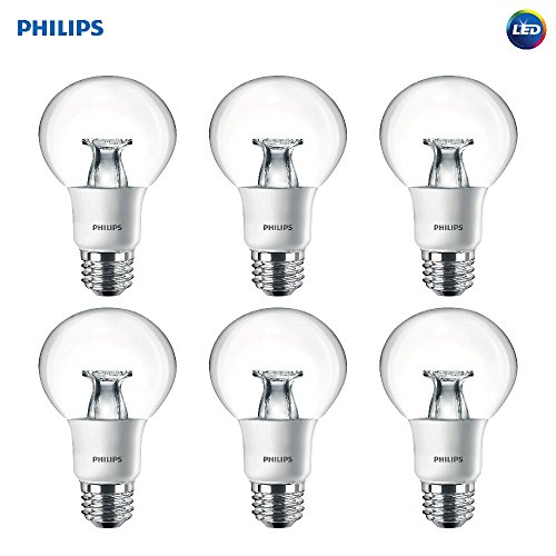 Philips LED Dimmable G25 Soft White Light Bulb with Warm Glow Effect 460-Lumen, 2700-2200-Kelvin, 7-Watt (40-Watt Equivalent), E26 Base, Clear, 6-Pack