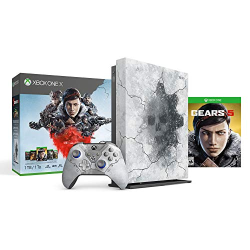Microsoft Xbox One X 2TB SSD Enhanced Gears 5 Limited Edition Arctic Blue Console, Gears 5 Ultimate Edition with Gears of War Complete Games Collection, 1 Month Xbox Live Gold and Game Pass Bundle