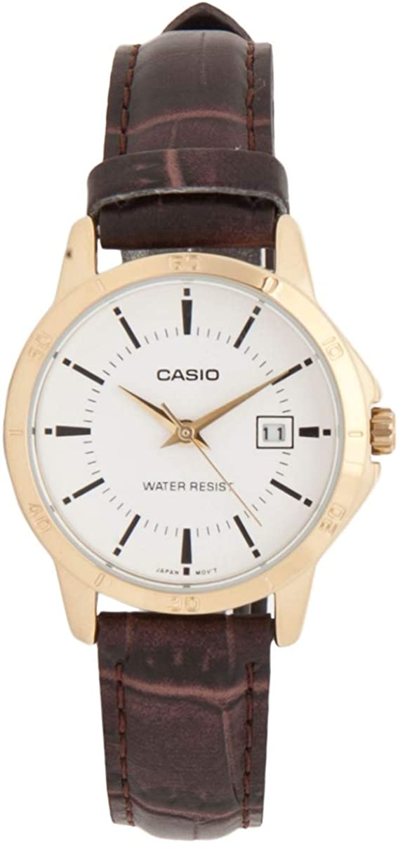 Casio Women s LTP-V004GL-7A Genuine Leather Band Analog Watch