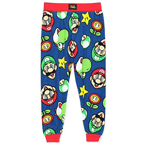 Komar Kids Super Mario Boys Fleece Pajama Pants (Medium/8, Navy)