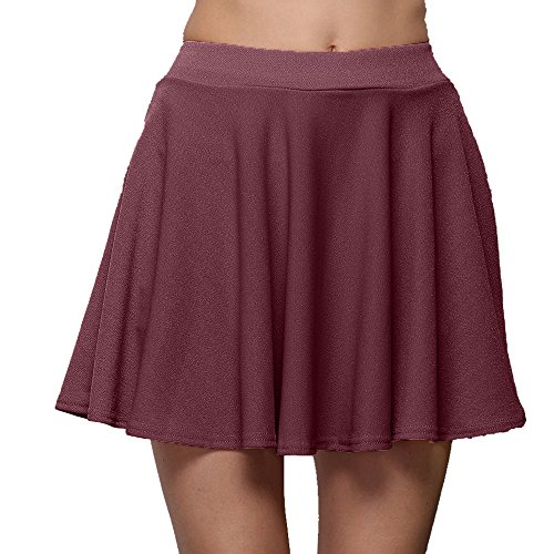 Colmkley Women's Casual Pleated Mini Pleated Tennis Sport Skirt Athletic Workout Wine ()
