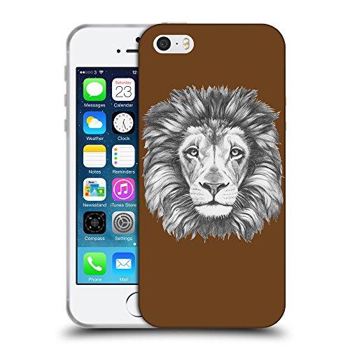 GoGoMobile Coque de Protection TPU Silicone Case pour // Q05160633 Dessin lion Sépia // Apple iPhone 5 5S 5G SE