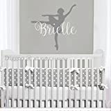 Personalized Ballerina Wall Decal For Girl Name Nursery Decor Ballet Dancer Wall Sticker Girls Room Wall Decor (22'' h x 22'' w PLUS FREE WELCOME DOOR DECAL)