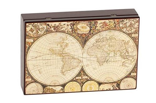 StealStreet SS-CQG-2060 World Map High Gloss Wooden Case with Poker Card Activity Dice Set by CHH