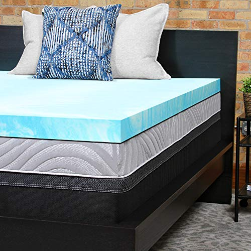 Sealy Performance 3-Inch Cooling Gel Foam Mattress Topper Washable Cover, 5 YR Warranty, Queen