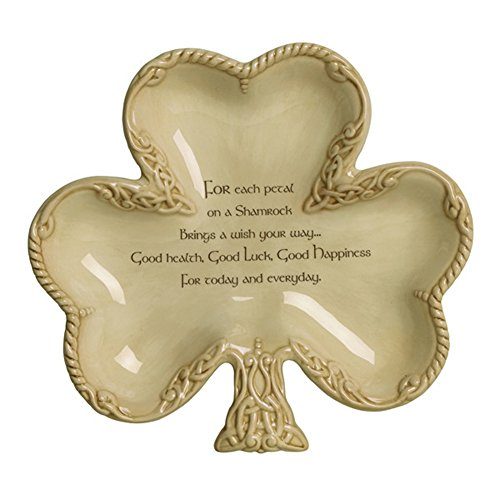 (Grasslands Road Celtic 7-1/4-Inch by 8-Inch Shamrock Shaped Bowl with Good Wishes Message)