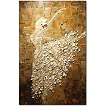 Paintings, 24x40 Inch Hand Painting V-inspire Ballerina Girl Abstract Art 3d Oil Painting Modern Art 100% Hand Painted Wall Decoration
