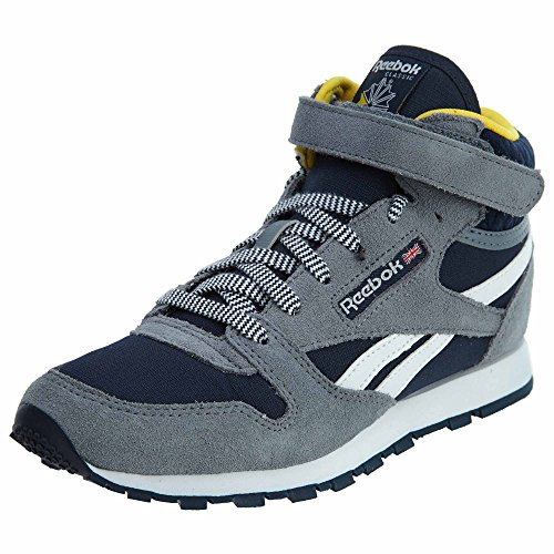Reebok Classic Leather Mid Strap Little Kids Style: BS5610-Asteroid Dust/Navy/Yellow Size: 11