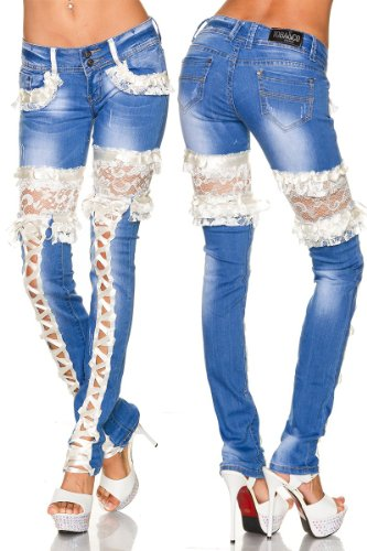 Tubo Stretch vaqueros Skinny Jeans con punta handgearbeiteter a13320 blau/schwarz, blau/creme