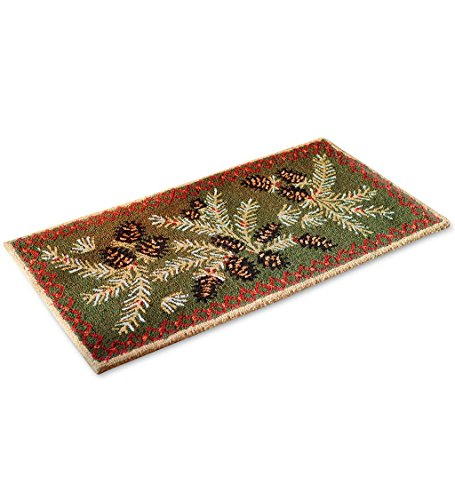 Fire Resistant Pine Cone Fireplace Hearth Rug, 100% Hooked Wool with Cotton Canvas Backing, 2 x 4 ft ()