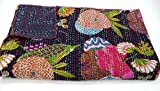Indian Handmade Twin Size Cotton Kantha Quit Throw Blanket Bedspread Gudari (Black)