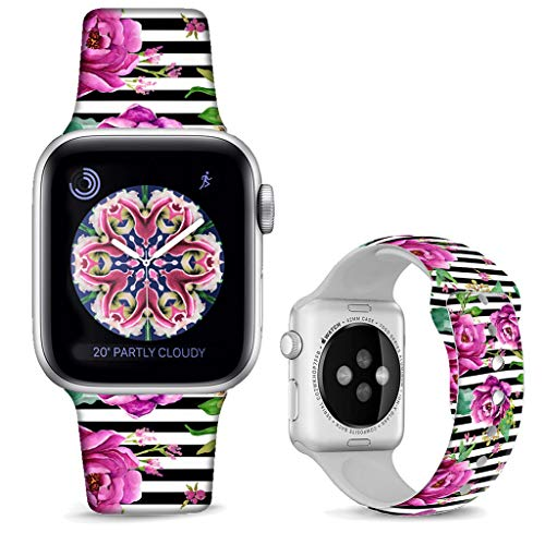 DOO UC Floral Bands Compatible with iWatch 38mm/40mm,Stripes Silicone Fadeless Pattern Printed Replacement Bands for A pple Watch Series 4/3/2/1, M/L for Women/Men