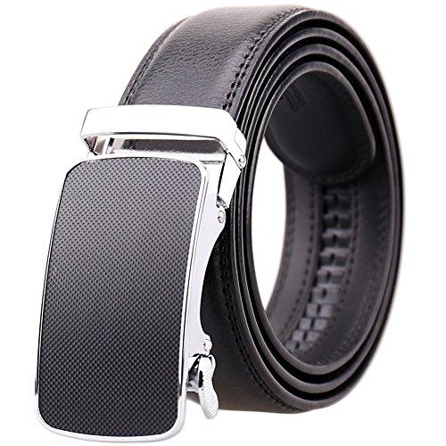 (KHC Men's Belt 100% Leather Belt Ratchet Automatic Adjustable Buckle Black 3XL)