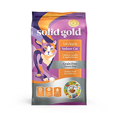 - Solid Gold Let's Stay In Indoor Cat Chicken, Lentil & Apple Recipe for Adult Cats; Natural, Holistic Grain and Gluten Free Dry Indoor Cat Food; 12 lb